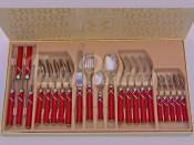 """Набор столовых приборов """"Ривадосси Фиокко"""" красные на 6 персон 24 предмета"""