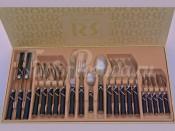 """Набор столовых приборов """"Ривадосси Фиокко"""" черные на 6 персон 24 предмета"""