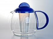 """Чайник заварочный с ситом """"Trendglas"""" 1,2л. c синей ручкой"""