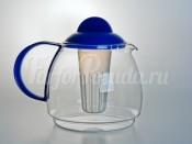 """Чайник заварочный с ситом """"Trendglas"""" 1,8л. c синей ручкой"""