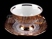 "Набор для чая ""Лист бежевый""(чашка+блюдце) на 6перс.12пред."