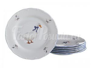 """Набор тарелок """"Гуси"""" 25 см 6 шт"""