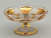 """Лимонница на ножке """"Яхами"""" 14,6 см хрусталь с золотом"""