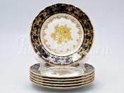 """Набор тарелок 17 см 6 шт """"Роза золотая кобальт"""" ОФ677/G"""