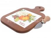 """Доска для сыра с ножом """"Апельсины и розы"""" 31*20*2 см."""