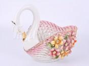"""Ваза для конфет """"Цветы"""" в форме лебедя"""