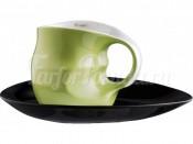 """Набор для капучино """"ab OvO"""" чашка и блюдце зеленый"""