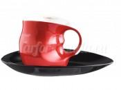 """Набор для капучино """"ab OvO"""" чашка и блюдце красный"""