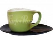 """Набор для чая """"ab OvO"""" чашка 450 мл и блюдце зеленый"""