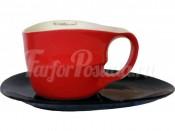 """Набор для чая """"ab OvO"""" чашка 450 мл и блюдце красный"""