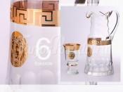 """Набор для воды """"Медуза Костка""""(графин+6стаканов) лит.стекло"""