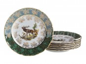 "Набор тарелок ""Зеленая охота"" 17 см OF871"