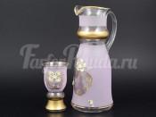 """Набор для воды королевский """"Фон розовый"""" кувшин и 6 стаканов"""