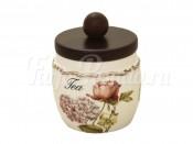 """Банка для сыпучих продуктов с деревянной крышкой(чай) """"Сады Флоренции"""""""