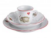 "Набор посуды на 1 персону 3 пр.""Зверята"":кружка 250 мл.+блюдце+тарелка диаметр 18/21 см."
