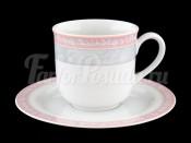 """Набор чайных пар """"Серый мрамор розовый кант"""" Яна 215 мл 6 шт"""
