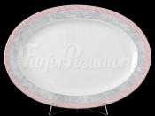 """Блюдо овальное """"Серый мрамор розовый кант"""" Яна 32 см"""