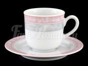 "Набор для кофе мокка ""Серый мрамор розовый кант"" Яна 85 мл"