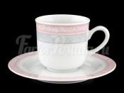 """Набор для кофе """"Серый мрамор розовый кант"""" Яна 145 мл"""