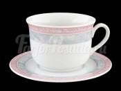 """Набор для чая """"Серый мрамор розовый кант"""" Яна 390 мл"""
