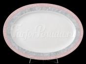 """Блюдо овальное """"Серый мрамор розовый кант"""" Яна 36 см"""