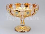 """Ваза для фруктов на ножке """"Хрусталь золото"""" 35,5 см"""