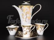 """Сервиз чайный на 6 персон 15 пр. """"Tosca Черное с золотом"""""""