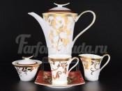 """Сервиз чайный на 6 персон 15 пр.""""Tosca красное с золотом"""""""