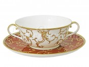 """Суповая чашка белая 340 мл """"Анатолия"""" на красном блюдце"""