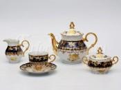 """Сервиз чайный """"Роза золотая Кобальт"""" ОФ677/Г на 6 персон 15 предметов"""
