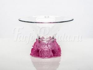 """Ваза для фруктов 25,5 см """"Фрост розовый"""""""