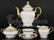 Кофейный мокка сервиз на 6 персон 17 предметов Мария Луиза Матовая полоса