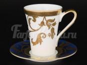 Набор кофейных пар 110мл 6пер 12пр Tosca Blueshade Gold