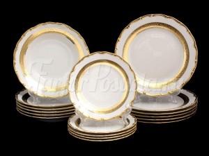 "Набор тарелок для сервировки стола ""Лента золотая 857"" 18шт."