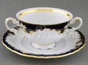 """Чашка для супа с блюдцем 2 руч. 0,35 л """"Кобальтовый узор Соната"""" Leander"""