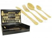 """Набор столовых приборов 75 предметов на 12 персон """"Antique Titanium Gold"""" в деревянной коробке"""