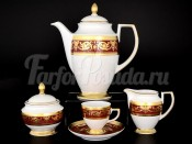 "Кофейный сервиз на 6 персон 17 пр ""Constanza Imperial Bordeaux Gold"" F-P"