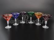 """Набор бокалов для мартини 180 мл """"Цветной хрусталь"""" 6 шт."""