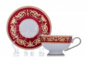 "Набор для чая ""Александрия Красная золото"" чашка 200 мл блюдце на 6 перс. 12 пред."