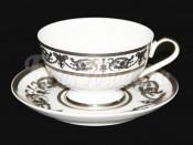 "Набор для чая ""Александрия Белая платина"" чашка 200 мл и блюдце на 6 перс. 12 пред."