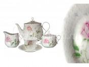 """Чайный сервиз 17 предметов на 6 пресон """"Апрельская роза"""" 6 чашек 200мл, 6 блюдец, чайник 600мл, крыш"""