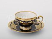 """Набор для кофе мокко """"Кленовый лист синий 819""""(чашка100мл.+блюдце) на 6перс.12пред."""