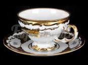"""Набор для чая """"Кленовый лист белый 408""""(чашка210мл.+блюдце) на 6перс.12пред."""