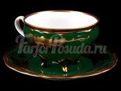 """Набор для чая """"Кленовый лист зеленый 8021шато""""(чашка160мл.+блюдце) на 6перс.12пред."""