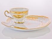 """Набор для чая """"Эгоист Кленовый лист белый 408""""(чашка+блюдо)"""