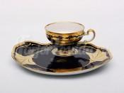 """Набор для чая """"Эгоист Кленовый лист синий 819""""(чашка+блюдо) 0,21л."""