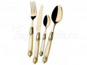 "Набор столовых приборов Casa Bugatti ""Rococo Ivory Gold"" 24 предмета на 6 персон золото"