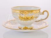 """Набор для чая подарочный """"Кленовый лист белый 408""""(чашка210мл.+блюдце) на 6перс.12пред."""