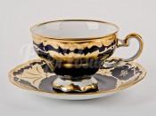 """Набор для чая подарочный """"Кленовый лист синий 819""""(чашка210мл.+блюдце) на 6перс.12пред."""