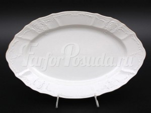 """Блюдо """"Бернадот белый"""" 34см. овальное"""